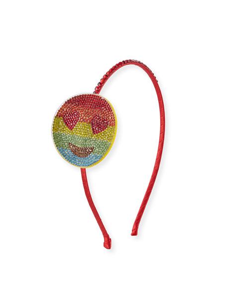 Bari Lynn Girls' Crystal Rainbow Heart-Eyes Emoji Headband,
