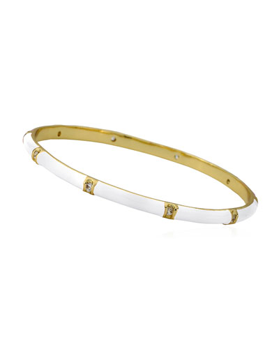 Girls' 14k Gold Plated Brass Station Enamel Bangle  White