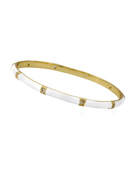LMTS Girls' 14k Gold Plated Brass Station Enamel Bangle, White