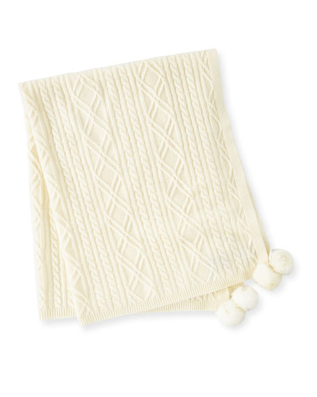 Cable-Knit Cashmere Baby Blanket w/ Fur Pompoms