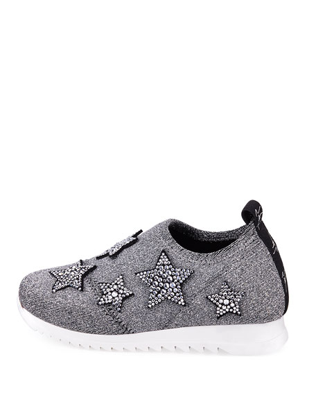 Natalie Sparkle Star Sneakers, Toddler/Youth Sizes 10T-1Y