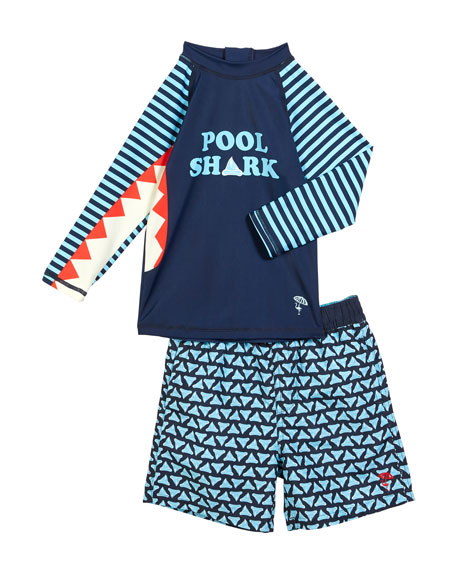 Shade Critters Pool Shark Rash Guard w/ Printed Swim Trunks, Size 6M-4