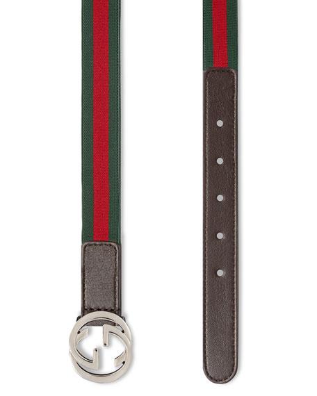 Gucci Kids' Adjustable Leather-Trim Belt, 20mm