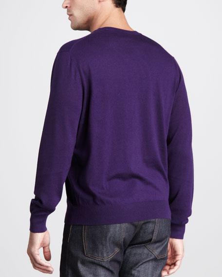 Superfine Cashmere V-Neck Sweater, Bark