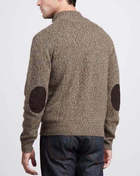 Marled Mock-Neck Cashmere Sweater, Olive/Natural/Bark