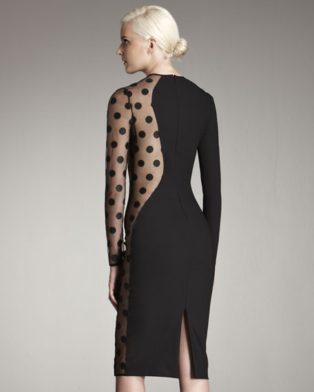 Polka-Dot Sheer Knit Dress