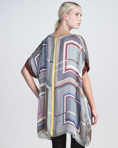 Geometric-Print Poncho Dress