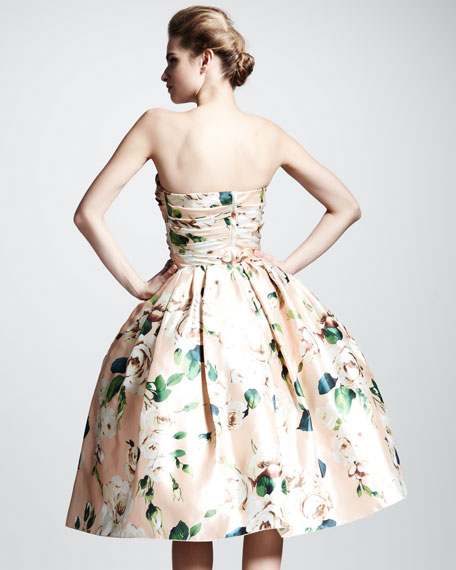 Convertible Floral-Print Silk Dress