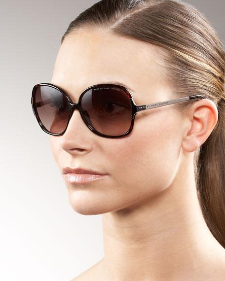 Thin Square Metal-Temple Sunglasses