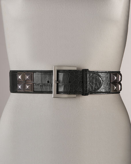 Studded Alligator Belt