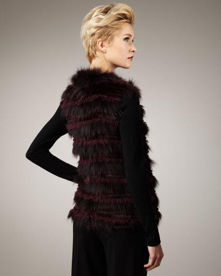 Tiered Fur Vest, Burgundy