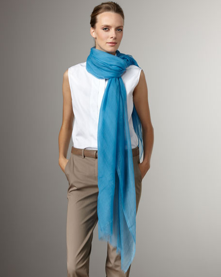 Lightweight Cashmere Stole, Blue