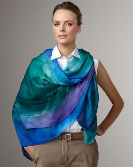 Silk Chiffon Shawl, Aquamarine