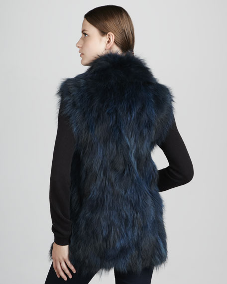 Long Raccoon Fur Vest, Dark Blue