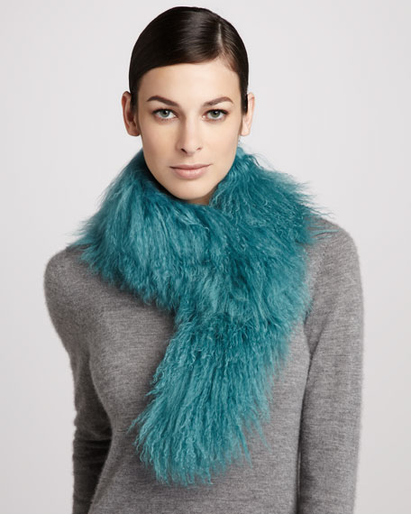 Tibetan Lamb Fur Scarf, Turquoise