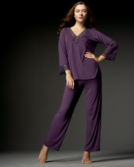 Lace-Trim Knit Pajamas