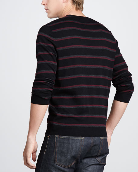 Striped Cashmere Sweater, Black/Charcoal/Merlot
