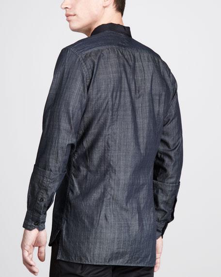 Grosgrain-Collar Denim Shirt
