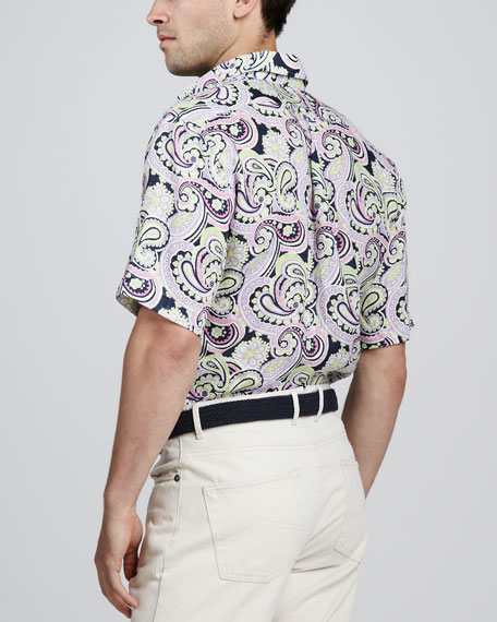 Paisley-Print Short-Sleeve Shirt