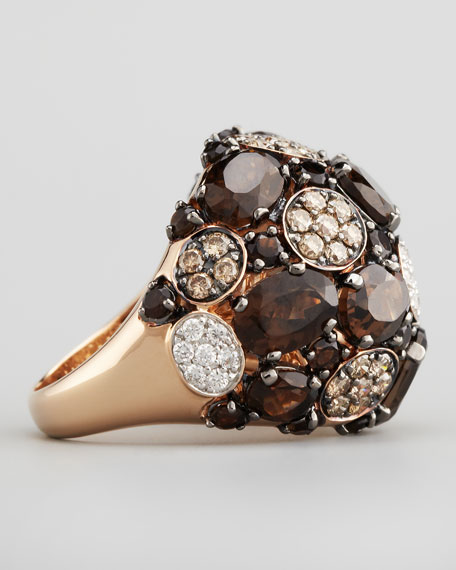 Shanghai Diamond & Smoky Quartz Ring