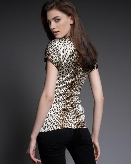 Animal-Print Silk Blouse
