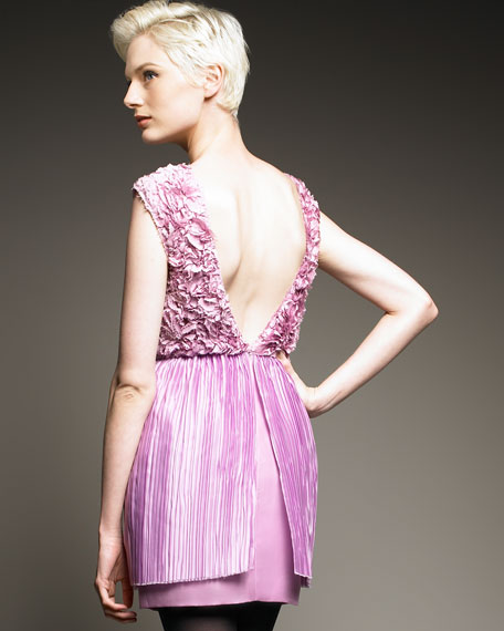 Flower Dress with Plisse Skirt