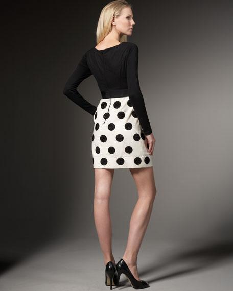 Colorblock Polka-Dot Dress
