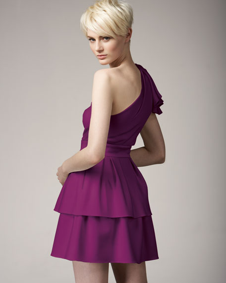 NM Exclusive One-Shoulder Tiered Skirt Dress