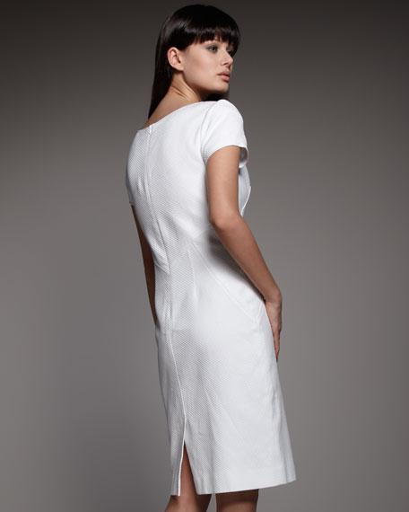 Short-Sleeve Pique Shift Dress