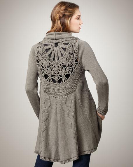 Tallia Crochet-Back Cocoon Sweater
