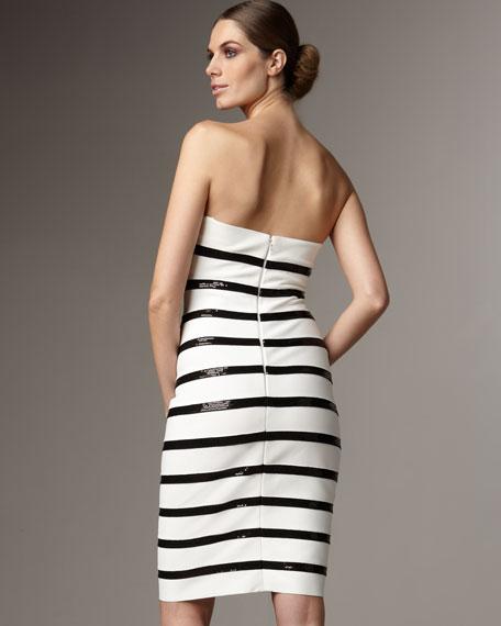 Strapless Sequin-Stripe Dress