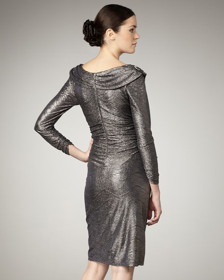 Cowl-Neck Sparkle Dress