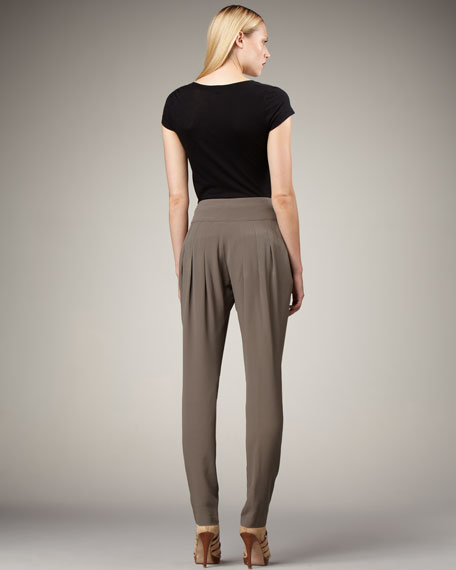 Pleat-Waist Tapered Pants