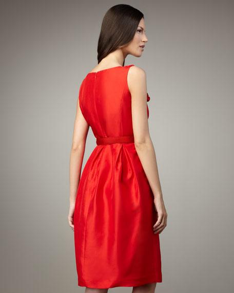 Silk Front Detail A-Line Dress