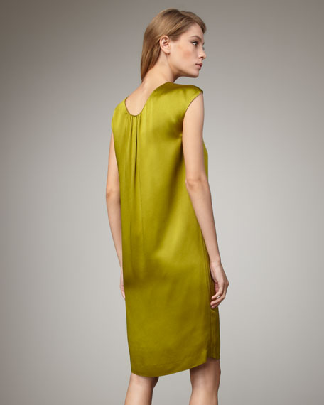 Hammered Satin Dress, Leaf