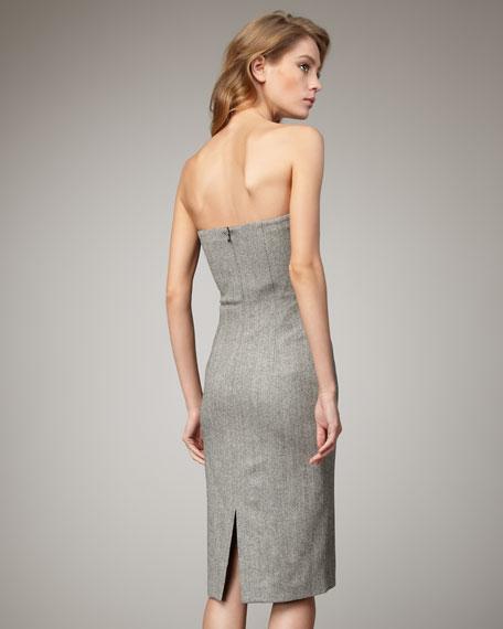 Suiting Sheath Dress, Black/White