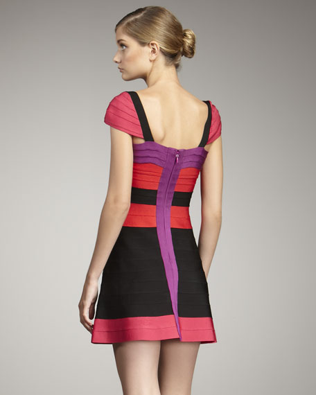 Colorblock Flare Bandage Dress