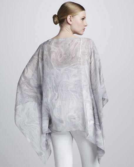 Marble-Print Chiffon Top