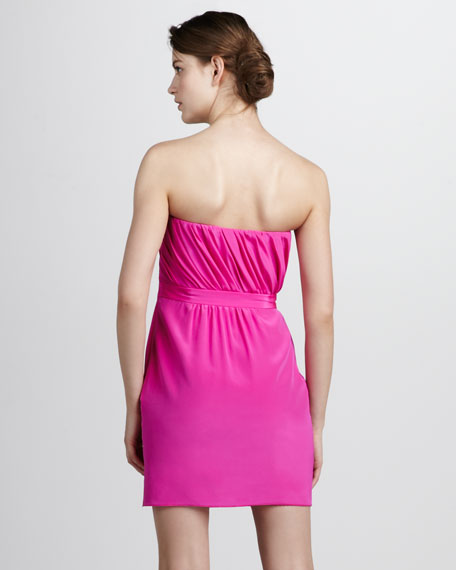 Silk Faux-Wrap Cocktail Dress
