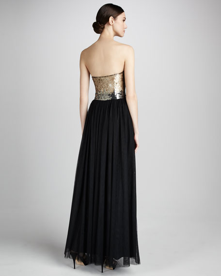Strapless Sequin-Top Gown