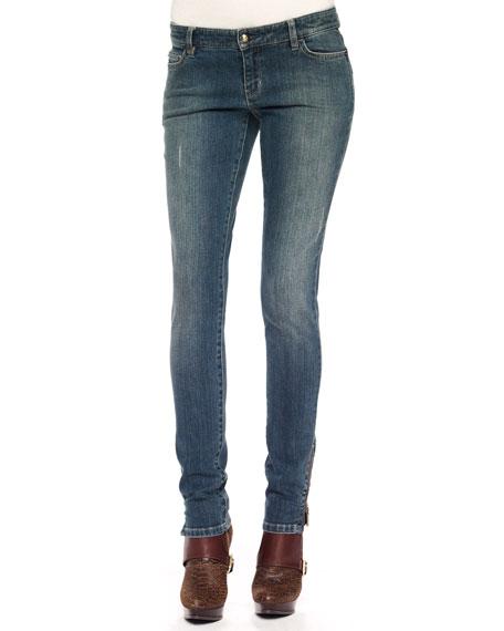 Skinny Zipper-Cuff Jeans