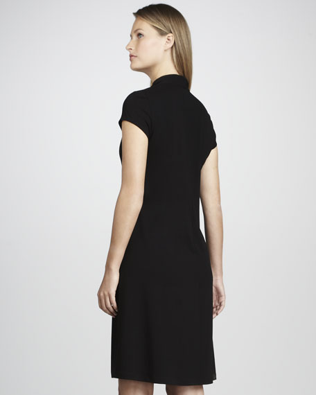 V-Neck Cap-Sleeve Jersey Dress