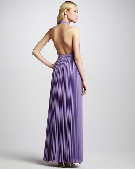 Pleated Belted Halter Gown