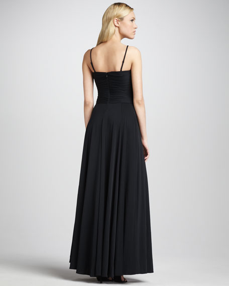 Ruched-Top Halter Gown