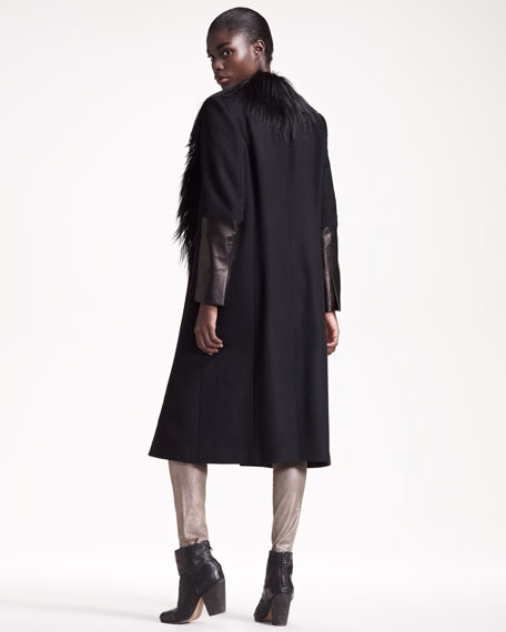 Shearling-Trim Scalpel Coat