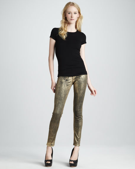 Casey Gold Foil Printed Skinny Jeans