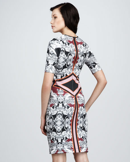 Floral-Print Geometric Dress