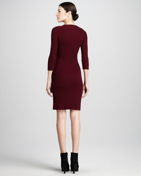 Funnel-Neck Ribbed Cashmere Dress