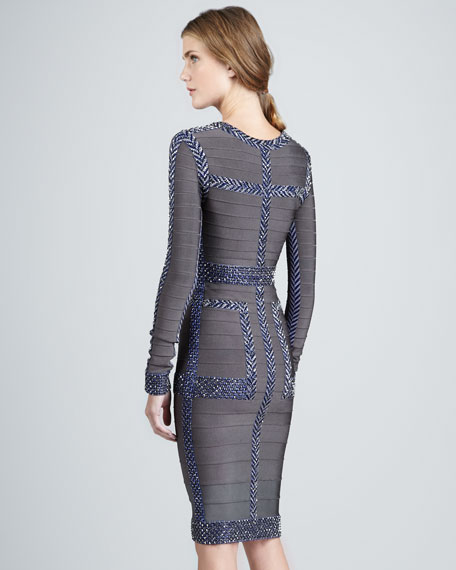 Pattern-Trim Long-Sleeve Bandage Dress
