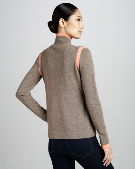 Tipped Mock-Neck Cashmere Sweater